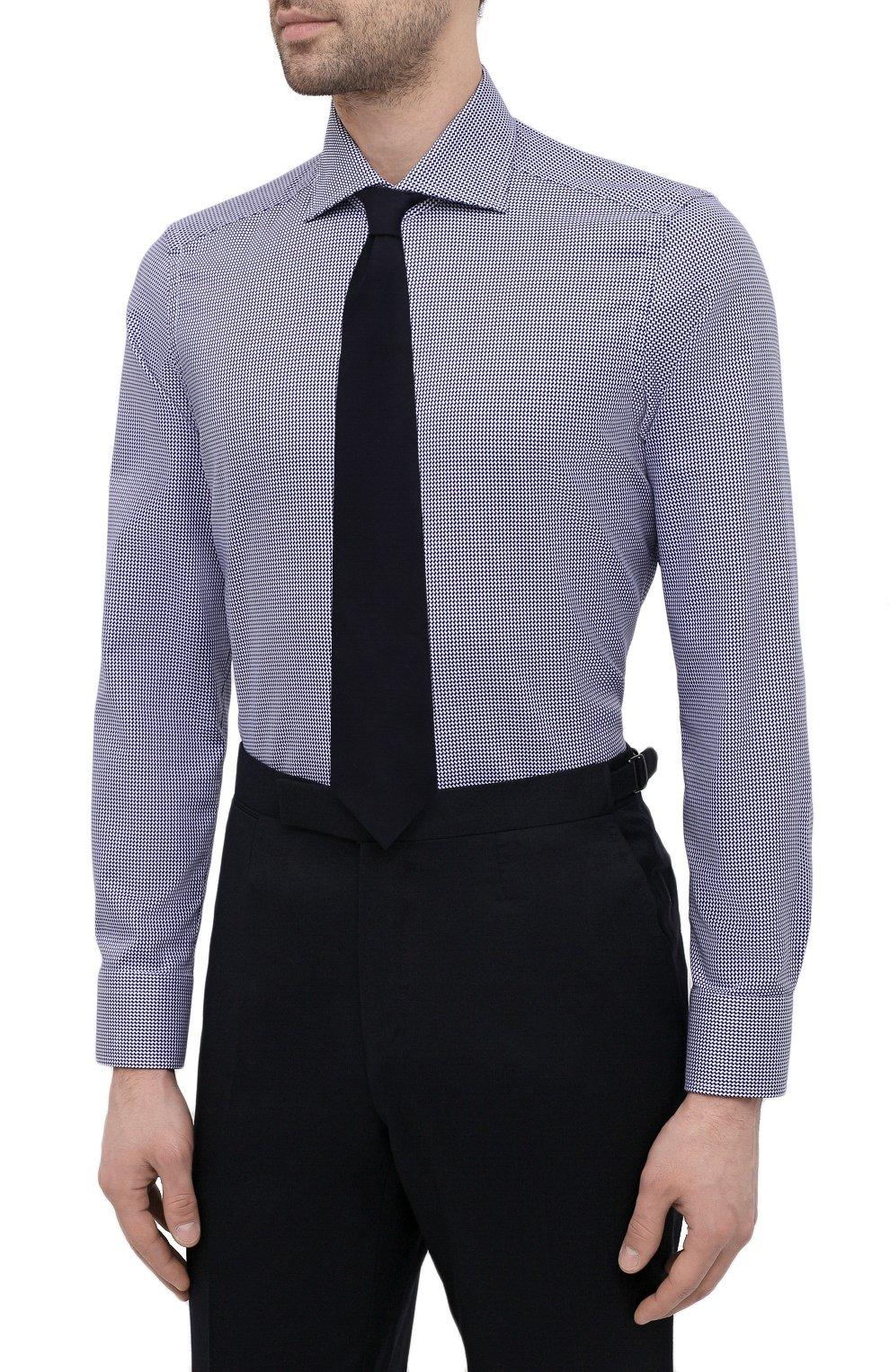 Мужская хлопковая сорочка SONRISA синего цвета, арт. I19/C4008   Фото 4 (Манжеты: На пуговицах; Принт: Клетка; Рукава: Длинные; Воротник: Акула; Длина (для топов): Стандартные; Рубашки М: Slim Fit; Материал внешний: Хлопок; Стили: Классический; Случай: Формальный)