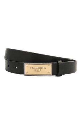 Мужской кожаный ремень DOLCE & GABBANA черного цвета, арт. BC4591/AV480 | Фото 1