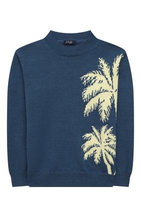 Детский хлопковый пуловер IL GUFO синего цвета, арт. P21MA352EM200/5A-8A | Фото 1