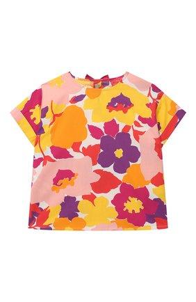 Детский хлопковый топ IL GUFO разноцветного цвета, арт. P21CC042C4072/5A-8A | Фото 1 (Материал внешний: Хлопок; Рукава: Короткие; Девочки Кросс-КТ: топ-одежда; Ростовка одежда: 4 года | 104 см, 5 лет | 110 см, 7 лет | 122 см)