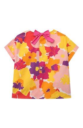 Детский хлопковый топ IL GUFO разноцветного цвета, арт. P21CC042C4072/5A-8A | Фото 2 (Материал внешний: Хлопок; Рукава: Короткие; Девочки Кросс-КТ: топ-одежда; Ростовка одежда: 4 года | 104 см, 5 лет | 110 см, 7 лет | 122 см)