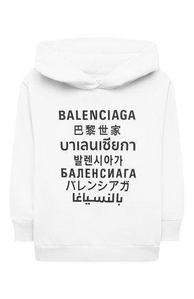 Детский хлопковое худи BALENCIAGA белого цвета, арт. 641599/TJVM3   Фото 1