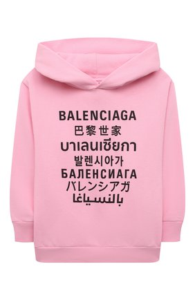 Детский хлопковое худи BALENCIAGA розового цвета, арт. 641599/TJVM3   Фото 1