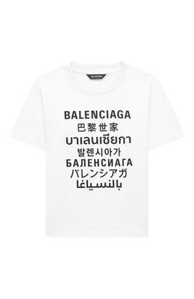 Детская хлопковая футболка BALENCIAGA белого цвета, арт. 556155/TJVM4   Фото 1