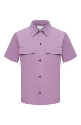 Мужская хлопковая рубашка BOTTEGA VENETA сиреневого цвета, арт. 652051/VKIX0 | Фото 1 (Материал внешний: Хлопок; Рукава: Короткие; Длина (для топов): Стандартные; Принт: Однотонные; Рубашки М: Classic Fit; Стили: Минимализм; Воротник: Кент; Случай: Повседневный)