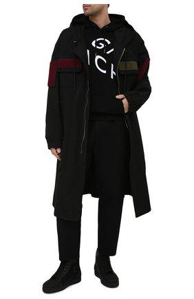 Мужские комбинированные кеды lou spikes 2 CHRISTIAN LOUBOUTIN черного цвета, арт. 1210802/L0U SPIKES 2 FLAT | Фото 2