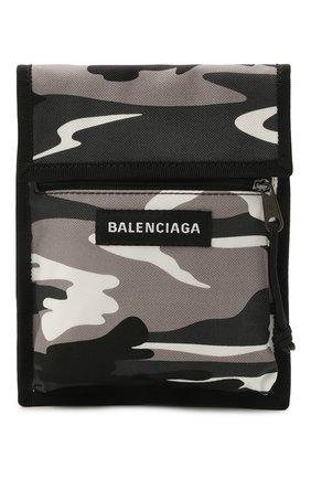 Мужская текстильная сумка explorer BALENCIAGA серого цвета, арт. 532298/2BKM5   Фото 1 (Ремень/цепочка: На ремешке; Материал: Текстиль)
