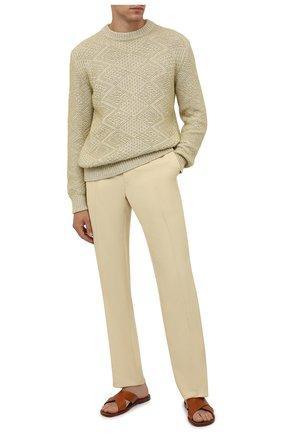 Мужские брюки из вискозы TOM FORD бежевого цвета, арт. 979R06/739D42 | Фото 2