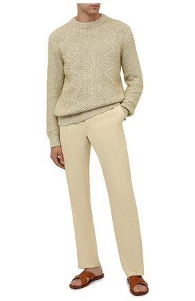 Мужские брюки из вискозы TOM FORD бежевого цвета, арт. 979R06/739D42 | Фото 2 (Длина (брюки, джинсы): Стандартные; Материал внешний: Вискоза; Случай: Повседневный; Стили: Кэжуэл)