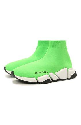 Женские текстильные кроссовки speed 2.0 BALENCIAGA зеленого цвета, арт. 617196/W2DBJ | Фото 1