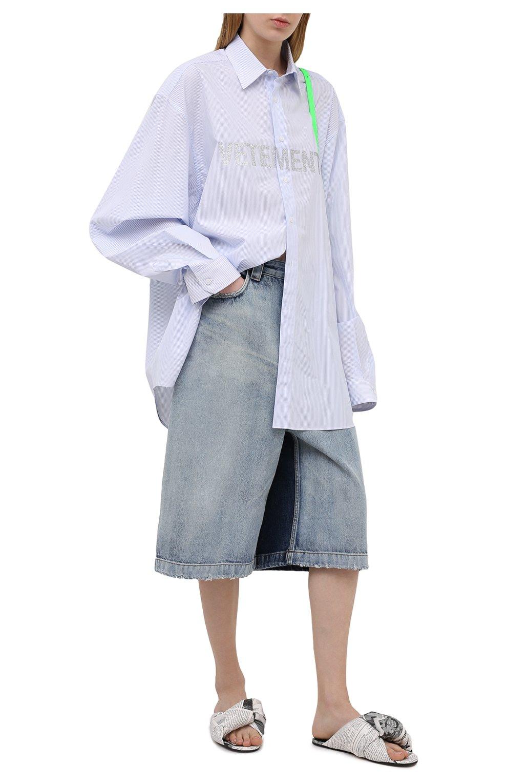 Женские кожаные шлепанцы drapy BALENCIAGA белого цвета, арт. 636576/WBCC1   Фото 2