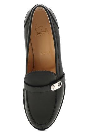 Женские кожаные лоферы lock me mock CHRISTIAN LOUBOUTIN черного цвета, арт. 1210585/L0CK ME M0C FLAT | Фото 5