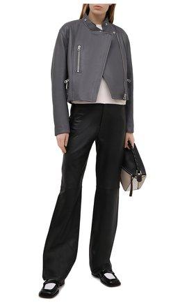 Женская кожаная куртка ACNE STUDIOS серого цвета, арт. A70090 | Фото 2