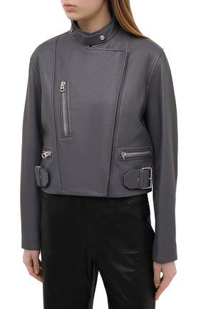 Женская кожаная куртка ACNE STUDIOS серого цвета, арт. A70090 | Фото 3
