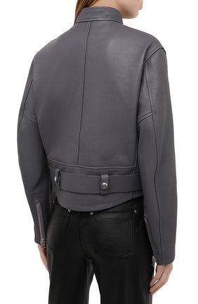 Женская кожаная куртка ACNE STUDIOS серого цвета, арт. A70090 | Фото 4