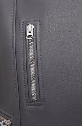Женская кожаная куртка ACNE STUDIOS серого цвета, арт. A70090 | Фото 5