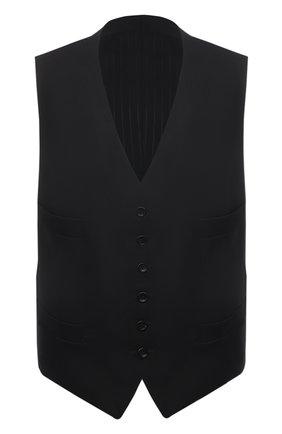 Мужской шерстяной жилет TOM FORD черного цвета, арт. Q22R97/31AL43_3   Фото 1 (Материал подклада: Купро, Шелк; Материал внешний: Шерсть; Длина (верхняя одежда): Короткие; Мужское Кросс-КТ: Жилет-классика; Стили: Классический)