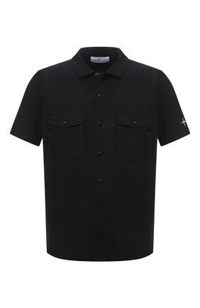Мужская льняная рубашка STONE ISLAND черного цвета, арт. 741512701 | Фото 1