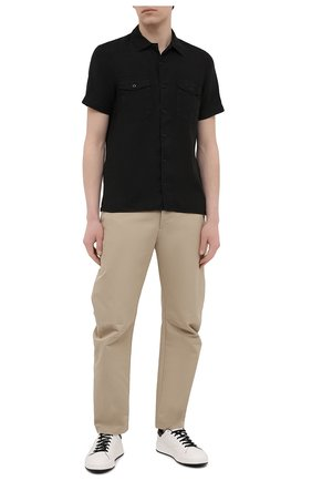 Мужская льняная рубашка STONE ISLAND черного цвета, арт. 741512701 | Фото 2