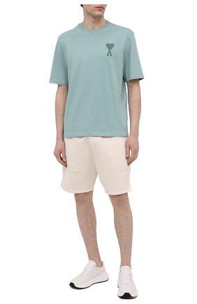 Мужская хлопковая футболка AMI светло-зеленого цвета, арт. E21HJ128.726 | Фото 2