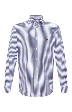 Мужская хлопковая рубашка RALPH LAUREN синего цвета, арт. 790833820   Фото 1 (Материал внешний: Хлопок; Длина (для топов): Стандартные; Случай: Повседневный; Принт: Полоска; Рукава: Длинные; Стили: Кэжуэл; Воротник: Акула; Манжеты: На пуговицах)