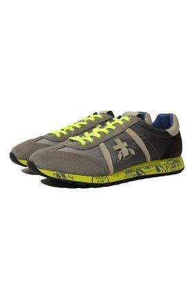 Мужские комбинированные кроссовки lucy PREMIATA серого цвета, арт. LUCY/VAR1313E | Фото 1 (Материал внешний: Текстиль; Подошва: Плоская; Материал внутренний: Натуральная кожа; Стили: Гранж)