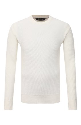 Мужской льняной джемпер LORO PIANA белого цвета, арт. FAL5734 | Фото 1