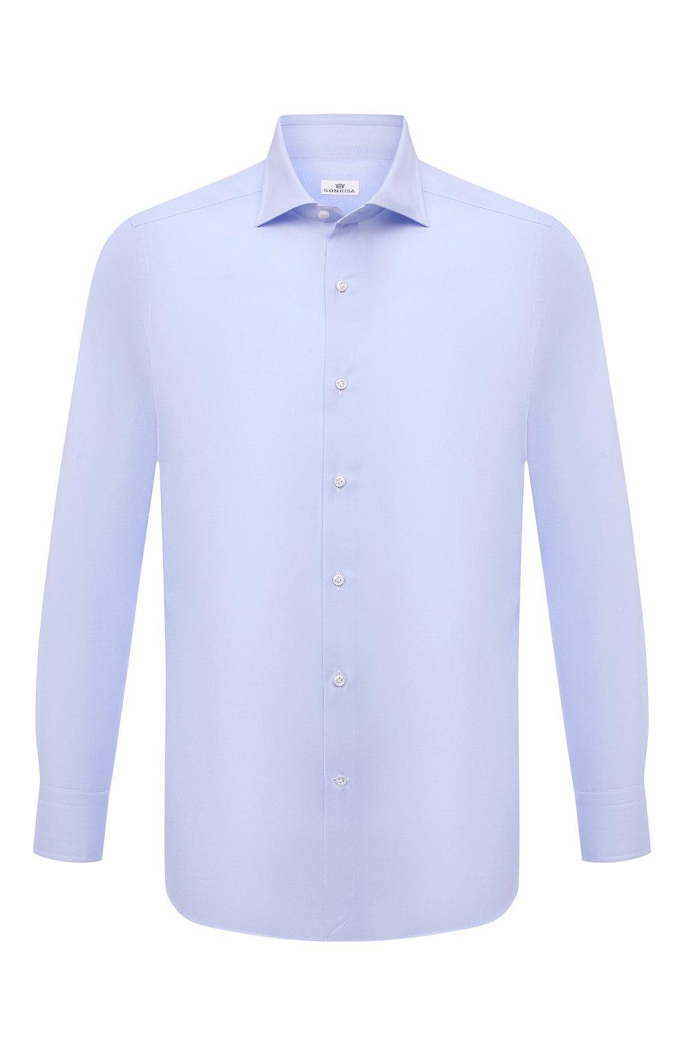 Мужская хлопковая сорочка SONRISA голубого цвета, арт. I19/C4005   Фото 1 (Манжеты: На пуговицах; Рукава: Длинные; Воротник: Акула; Длина (для топов): Стандартные; Рубашки М: Slim Fit; Материал внешний: Хлопок; Стили: Классический; Случай: Формальный; Принт: Однотонные)