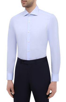 Мужская хлопковая сорочка SONRISA голубого цвета, арт. I19/C4005   Фото 3 (Манжеты: На пуговицах; Рукава: Длинные; Воротник: Акула; Длина (для топов): Стандартные; Рубашки М: Slim Fit; Материал внешний: Хлопок; Стили: Классический; Случай: Формальный; Принт: Однотонные)
