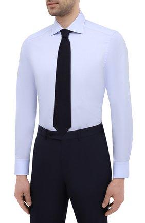 Мужская хлопковая сорочка SONRISA голубого цвета, арт. I19/C4005   Фото 4 (Манжеты: На пуговицах; Рукава: Длинные; Воротник: Акула; Длина (для топов): Стандартные; Рубашки М: Slim Fit; Материал внешний: Хлопок; Стили: Классический; Случай: Формальный; Принт: Однотонные)