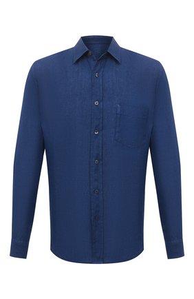Мужская льняная рубашка 120% LINO темно-синего цвета, арт. T0M1425/0115/000 | Фото 1