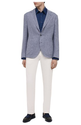 Мужская льняная рубашка 120% LINO темно-синего цвета, арт. T0M1425/0115/000 | Фото 2