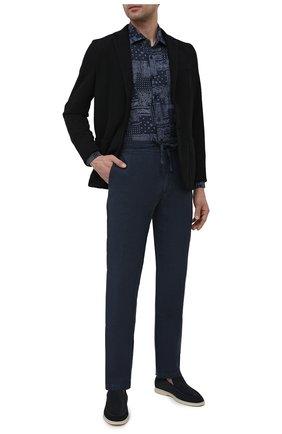 Мужские льняные брюки 120% LINO темно-синего цвета, арт. T0M299M/0253/000 | Фото 2