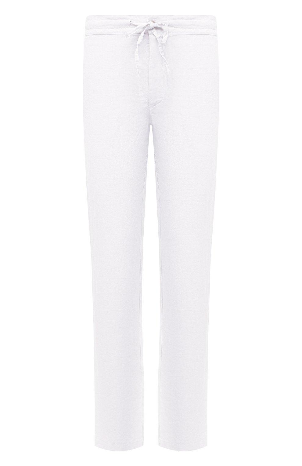 Мужские льняные брюки 120% LINO белого цвета, арт. T0M299M/0253/000 | Фото 1 (Длина (брюки, джинсы): Стандартные; Случай: Повседневный; Материал внешний: Лен; Стили: Кэжуэл)