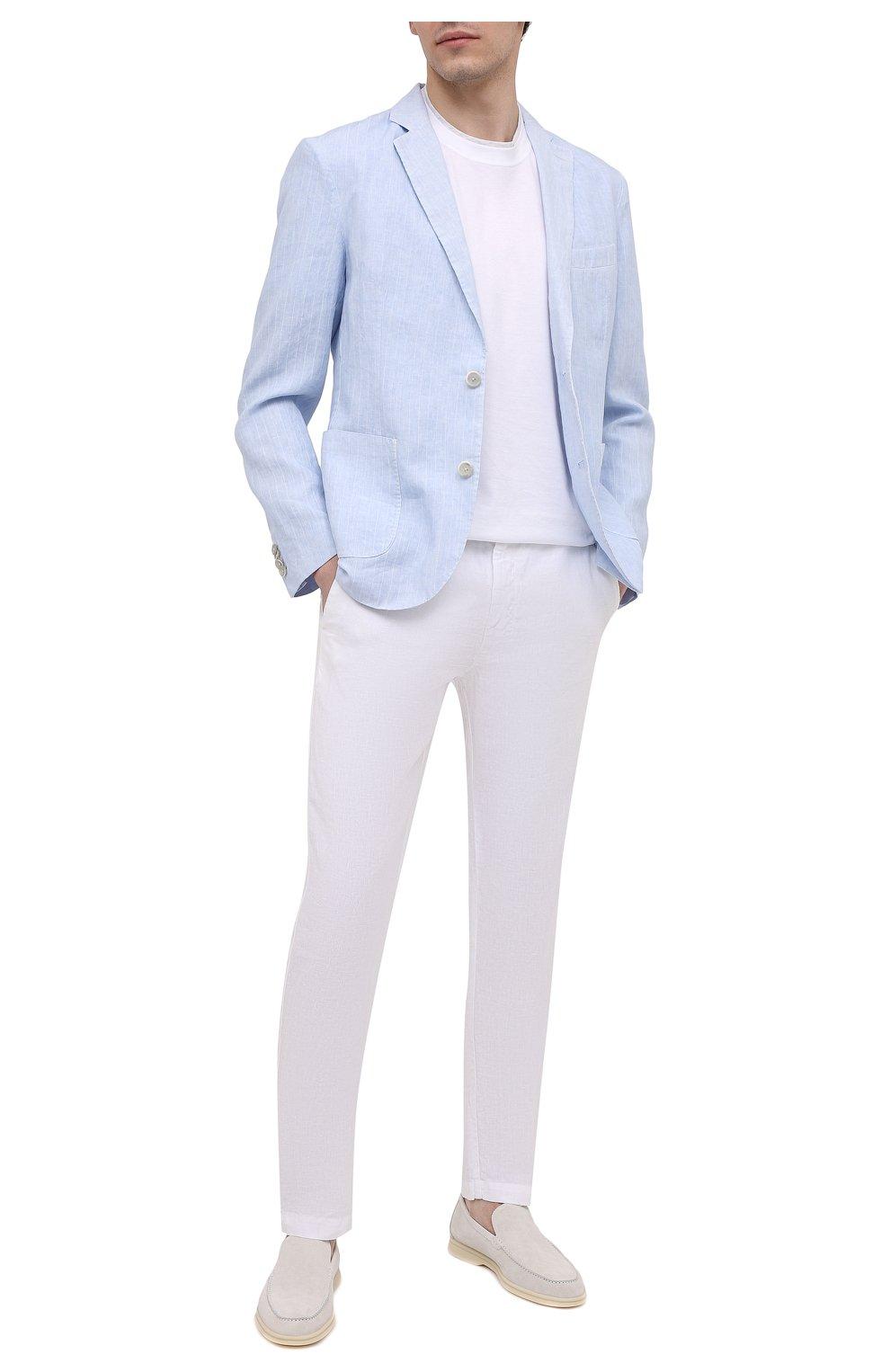Мужские льняные брюки 120% LINO белого цвета, арт. T0M299M/0253/000 | Фото 2 (Длина (брюки, джинсы): Стандартные; Случай: Повседневный; Материал внешний: Лен; Стили: Кэжуэл)