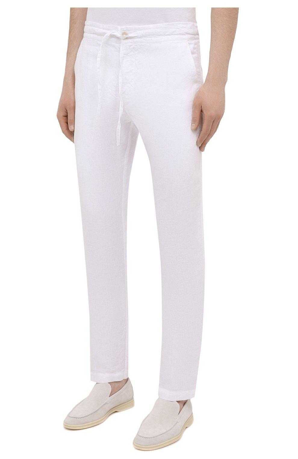 Мужские льняные брюки 120% LINO белого цвета, арт. T0M299M/0253/000 | Фото 3 (Длина (брюки, джинсы): Стандартные; Случай: Повседневный; Материал внешний: Лен; Стили: Кэжуэл)