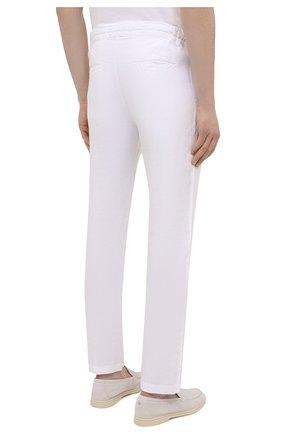 Мужские льняные брюки 120% LINO белого цвета, арт. T0M299M/0253/000 | Фото 4 (Длина (брюки, джинсы): Стандартные; Случай: Повседневный; Материал внешний: Лен; Стили: Кэжуэл)