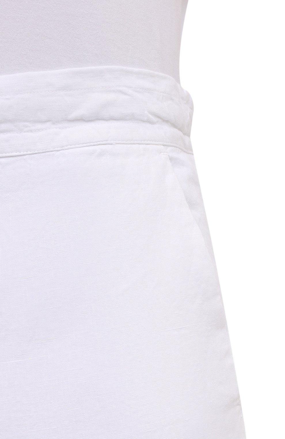 Мужские льняные брюки 120% LINO белого цвета, арт. T0M299M/0253/000 | Фото 5 (Длина (брюки, джинсы): Стандартные; Случай: Повседневный; Материал внешний: Лен; Стили: Кэжуэл)