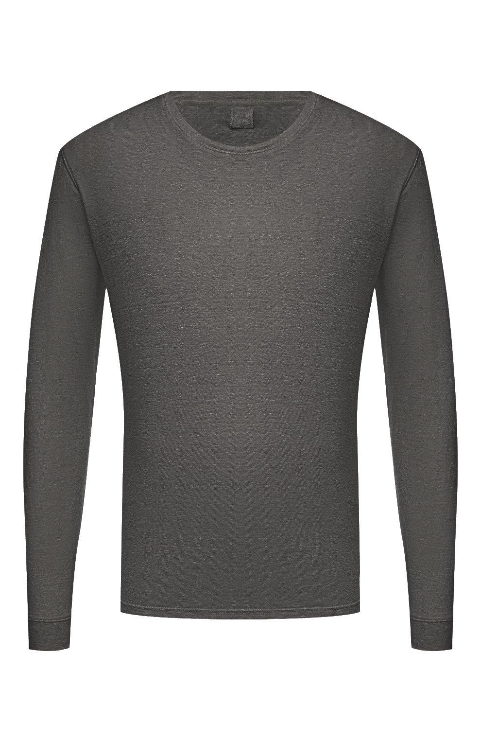 Мужская льняной лонгслив 120% LINO темно-серого цвета, арт. T0M70F4/E908/S00   Фото 1 (Рукава: Длинные; Принт: Без принта; Длина (для топов): Стандартные; Материал внешний: Лен; Стили: Кэжуэл)