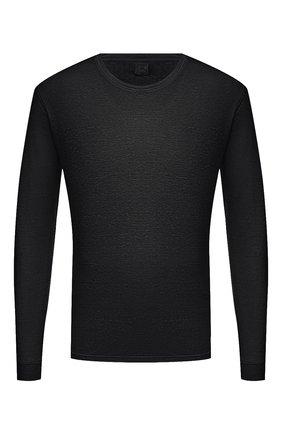 Мужская льняной лонгслив 120% LINO черного цвета, арт. T0M70F4/E908/S00 | Фото 1