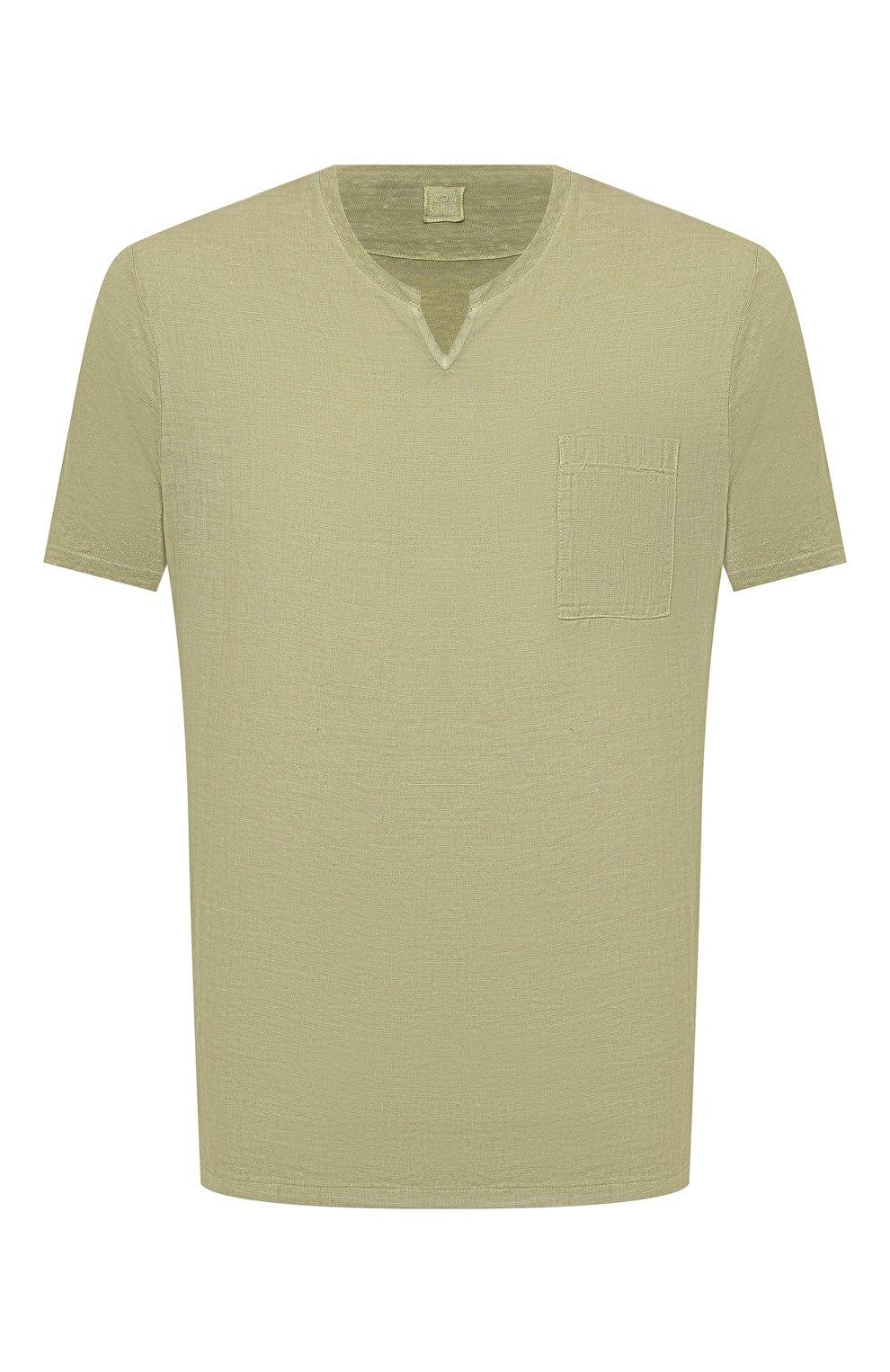 Мужская льняная футболка 120% LINO зеленого цвета, арт. T0M70GU/E908/S00   Фото 1 (Принт: Без принта; Рукава: Короткие; Длина (для топов): Стандартные; Материал внешний: Лен; Стили: Кэжуэл)