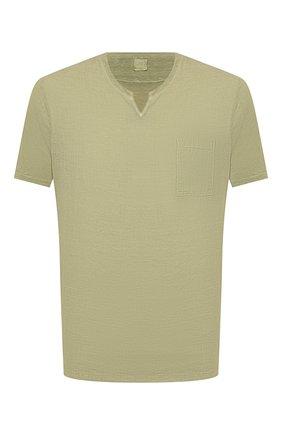 Мужская льняная футболка 120% LINO зеленого цвета, арт. T0M70GU/E908/S00 | Фото 1