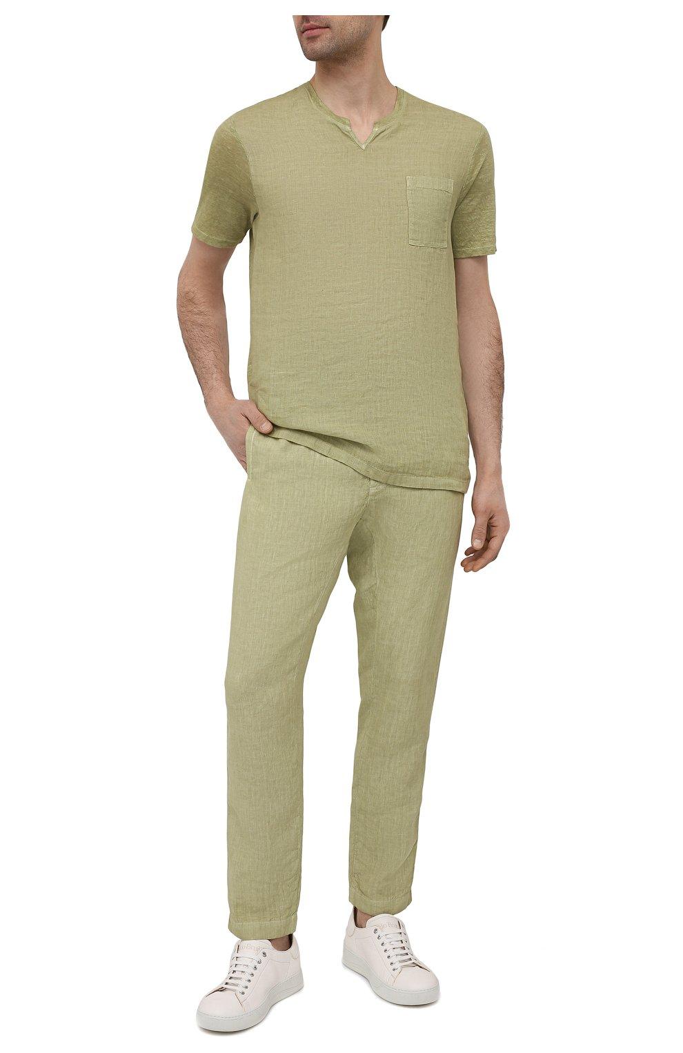 Мужская льняная футболка 120% LINO зеленого цвета, арт. T0M70GU/E908/S00   Фото 2 (Принт: Без принта; Рукава: Короткие; Длина (для топов): Стандартные; Материал внешний: Лен; Стили: Кэжуэл)