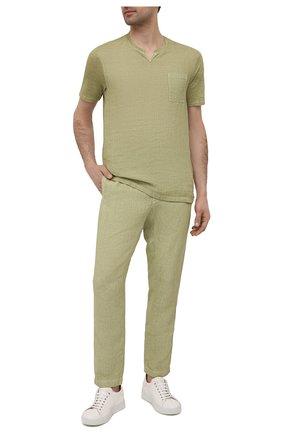 Мужская льняная футболка 120% LINO зеленого цвета, арт. T0M70GU/E908/S00 | Фото 2
