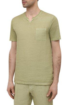 Мужская льняная футболка 120% LINO зеленого цвета, арт. T0M70GU/E908/S00   Фото 3 (Принт: Без принта; Рукава: Короткие; Длина (для топов): Стандартные; Материал внешний: Лен; Стили: Кэжуэл)