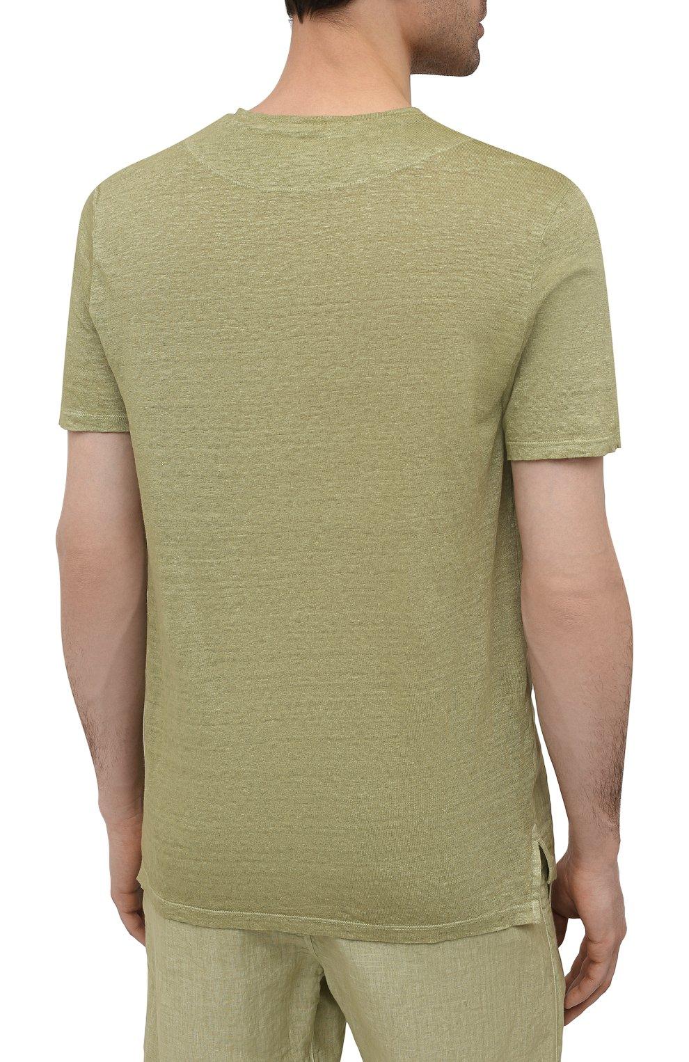 Мужская льняная футболка 120% LINO зеленого цвета, арт. T0M70GU/E908/S00   Фото 4 (Принт: Без принта; Рукава: Короткие; Длина (для топов): Стандартные; Материал внешний: Лен; Стили: Кэжуэл)