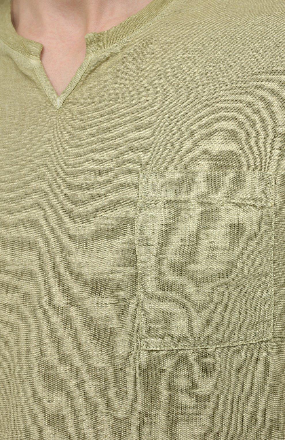 Мужская льняная футболка 120% LINO зеленого цвета, арт. T0M70GU/E908/S00   Фото 5 (Принт: Без принта; Рукава: Короткие; Длина (для топов): Стандартные; Материал внешний: Лен; Стили: Кэжуэл)