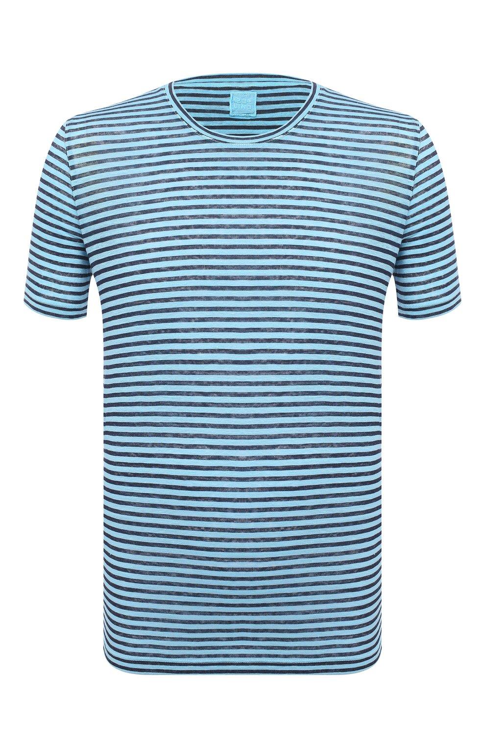 Мужская льняная футболка 120% LINO голубого цвета, арт. T0M7186/E738/S00 | Фото 1 (Рукава: Короткие; Длина (для топов): Стандартные; Принт: С принтом; Материал внешний: Лен; Стили: Кэжуэл)