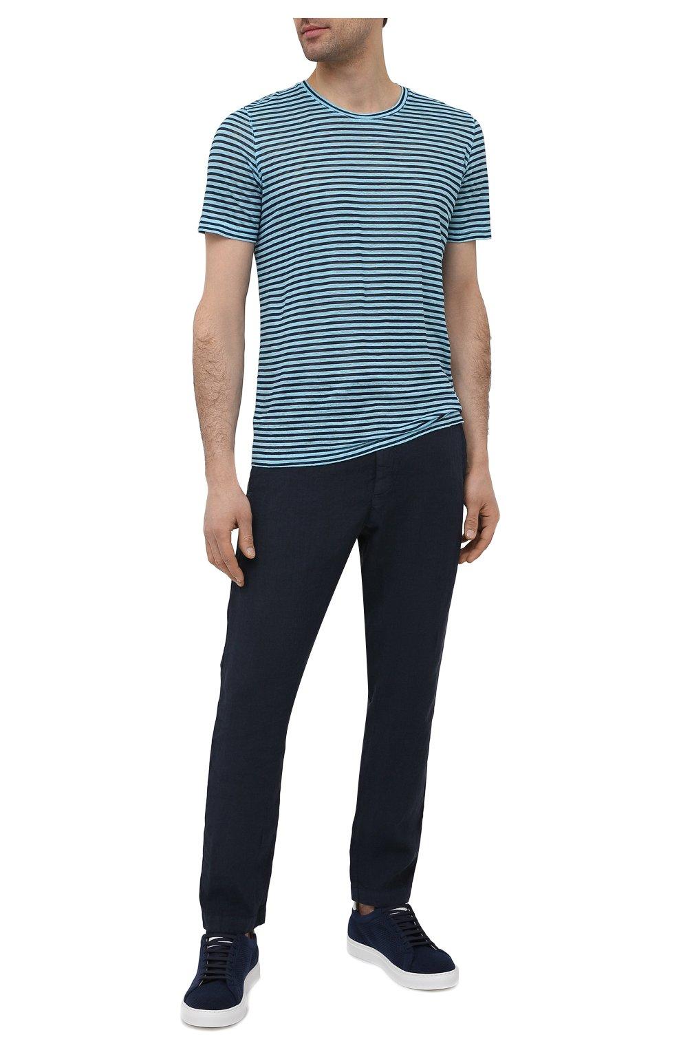 Мужская льняная футболка 120% LINO голубого цвета, арт. T0M7186/E738/S00 | Фото 2 (Рукава: Короткие; Длина (для топов): Стандартные; Принт: С принтом; Материал внешний: Лен; Стили: Кэжуэл)