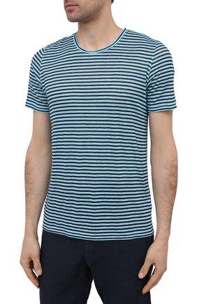 Мужская льняная футболка 120% LINO голубого цвета, арт. T0M7186/E738/S00 | Фото 3 (Рукава: Короткие; Длина (для топов): Стандартные; Принт: С принтом; Материал внешний: Лен; Стили: Кэжуэл)